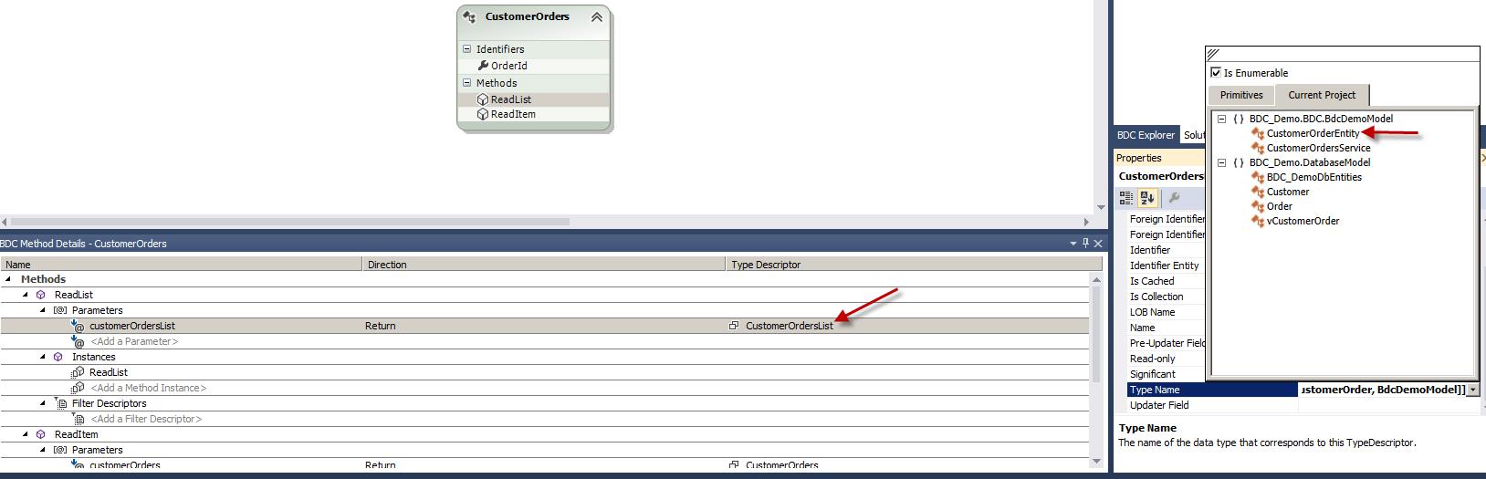 Set Type Name for ReadList Return Parameter